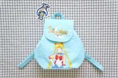 90's Backpack, Mini Backpack, Baby Blue Sailor Moon Mini Backpack, Cyber Angel, Pastel Goth, Aesthetic, Tumblr