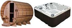 COMBO Passion Spas EUPHORIA & Almost Heaven Barrel Sauna GRANDVIEW 7+1 6-Person Clear Red Cedar