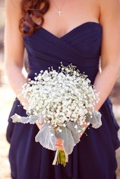 Deep blue bride's maids dresses and baby breath flowers