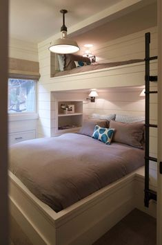 Fabulous Bunk Bed Ideas To Inspire You 12 Inspirational Examples Of Built In Bunk Beds Bunk Room - Interior Design Ideas & Home Decorating Inspiration - moercar Bunk Beds With Stairs, Small Spaces, Bed, Home, Bunk Beds Built In, Cottage Bedroom, Loft Spaces, Home Bedroom, Home Decor