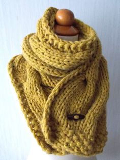 Chunky Scarf Big Cabled Mustard Yellow Golden Cowl by LaimaShop