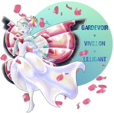 Gardevoir X Vivillon X Lillligant by on DeviantArt - Poke Ball Pokemon Rare, Pokemon Mix, Pokemon Fusion Art, Mega Pokemon, Pokemon Memes, Pokemon Fan Art, Cool Pokemon, Play Pokemon, Pokemon Stuff