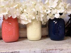 Painted Coral White and Navy Mason Jars. by SamanthaBugglin