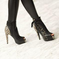 Vixen Peep-Toe Boots - Leopard/Black