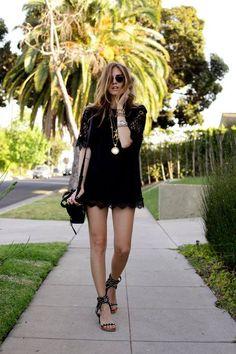 Love the black mini summer dress
