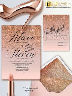 Rose Gold Glitter Wedding Invitation & RSVP by GlamPrettyWeddings