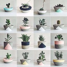 Idea Of Making Plant Pots At Home // Flower Pots From Cement Marbles // Home Decoration Ideas – Top Soop Diy Concrete Planters, Cement Pots, Diy Planters, Succulent Planters, Succulents Garden, Planting Flowers, Painted Plant Pots, Painted Flower Pots, House Plants Decor