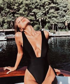 black swim suit one piece black bikini Summer Swimwear, Bikini Swimwear, Monokini Swimsuits, Trendy Swimwear, Shotting Photo, Photographie Portrait Inspiration, Mädchen In Bikinis, Cute Swimsuits, Women Swimsuits