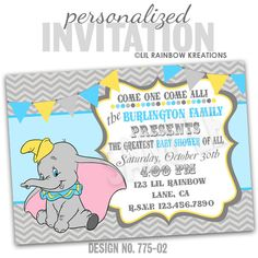 775-02: DIY - Vintage Elephant 2Party Invitation Or Thank You Card