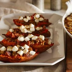 Williams Sonoma's recipe for twice-baked sweet potatoes with pecan-bacon streusel and marshmallows.