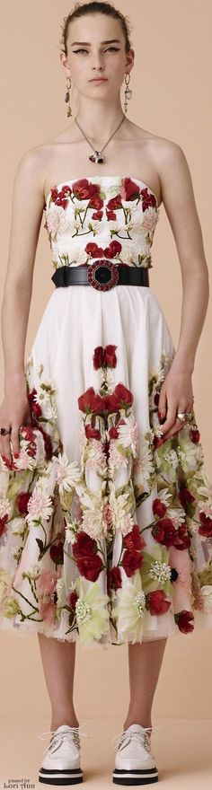 Alexander McQueen Resort 2016 floral dress off shoulder.  women fashion outfit clothing stylish apparel @roressclothes closet ideas
