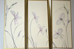 Stunning Vintage Three Panel Iris Floral Watercolor Wall Art Signed by OffCenterModern on Etsy