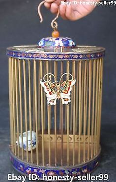 13-China-Cloisonne-Enamel-Gilt-Butterfly-Hanting-Birdcage-Cage-Bird-Cages-Statue Chinese Figurines, Bird Cages, Statue, Beautiful Birds, Enamel, Butterfly, China, Antiques, Ebay
