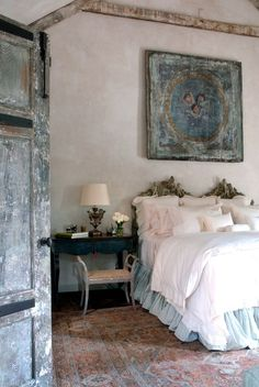 Elegant bedroom with various weathered finishes.  Love the look but can't find affordable antique pieces?  Create your own!  Get that perfect patina with Artisan Enhancements Crackle Tex and other NO-VOC art finishing products!
