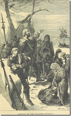"""""""Landing of the Pilgrim Fathers"""" illustration from p. 83 of _British Enterprise beyond the Seas_ by J. H. Fyfe"""