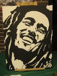 Bob Marley Painting by katouZ on Newgrounds Arte Bob Marley, Bob Marley Painting, Shadow Painting, Painting Tips, Rasta Art, Bob Marley Pictures, Rock Poster, Diy Canvas Art, Canvas Canvas