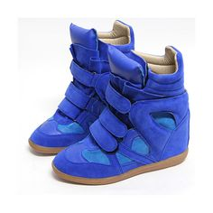 Womens Black High Top Strap Sneakers Shoes US 5~8 / Ladies Velcro... via Polyvore