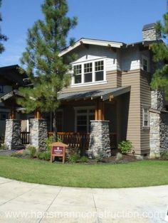 Craftsman styled home with stone columns http://www.hansmannconstruction.com