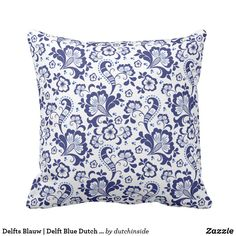 Heart Delft Blue Holland Pottery Fleece Cushion Round or Square Shaped Pillow