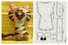ARTE COM QUIANE - Paps,Moldes,E.V.A,Feltro,Costuras,Fofuchas 3D: Gato fofo