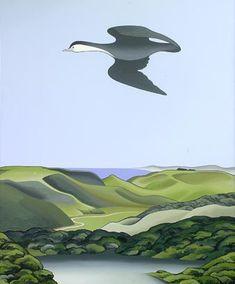 Pied Shag flying - print by Don Binney Beautiful Birds, Beautiful Images, Thinking In Pictures, New Zealand Art, Nz Art, Maori Art, Kiwiana, Art Base, Lino Cuts