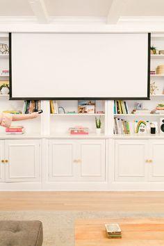 Hidden Projector TV Screen via A Beautiful Mess