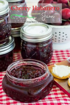 Pepperheads will love this easy homemade Cherry Habanero Jam recipe using fresh cherries and a habanero pepper. Make is mild or make it fiery hot to suit your own pepper jam tastes. Get the cherry canning recipe via flouronmyface.com