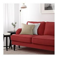 IKEA - STOCKSUND, Sofa, Ljungen light red, black, , You get extra soft comfort and support because the thick cushion has a core of pocket springs and a top of cut foam and polyester fibers.The wider seat angle makes the sofa feel deeper and you sit more comfortably.The core of pocket springs is durable and keeps its form and soft comfort for a longer time.The cover is easy to keep clean as it is removable and can be machine washed.Tailored cover in durable polyester with a soft, velvety…
