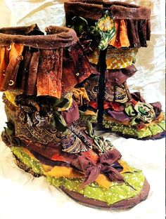 Boho Earth Mother Patchwork Elf Boots, US Women's Size  9.5