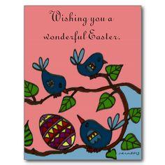 Pysanka and Birds Ukrainian Folk Art Post Card