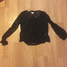 Black Lace Boho Long Sleeve No tears! Perfect condition! It is lace/see through. Size is s/m p/m. Xhilaration Tops Tees - Long Sleeve