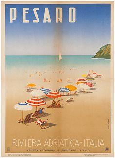Vintage Italian Posters ~ #illustrator  #Italian #vintage #posters ~ Pesaro riviera