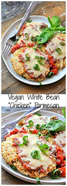 "This vegan white bean ""chicken"" Parmesan is literally so perfect you will never know it's not the real thing. Baked not fried and filled with protein!"