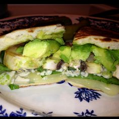 Avocado, provolone , blue cheese crumbles, spinach, mushroom grilled on flat bread. Oh yumm