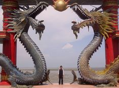 A visitor of Sanggar Agung Temple toke a picture under the dragon statues, Surabaya-Indonesia - Chinese dragon - Wikipedia, the free encyclopedia