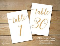 Instant Download Printable Table Numbers 1-30 // Bella Script Gold Table Number, Gold Wedding Decor // 4x6 Table Numbers Wedding