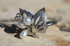 Vtg 925 Sterling Silver Genuine White Freshwater Pearl Adjustable Butterfly Ring | eBay