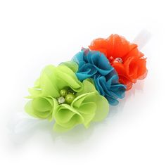 """Apple green, turquoise, orange  Stretchy elastic headbands with three 2.25"""" fabric chiffon flowers attached.  The flower is attached to an elastic headband sized to fit newborns through around age 8mos.  We chose a narrow 3/8"""" width fold over elastic band for our infant size as we love how they are more petite for the little ones!  Perfect for all occasions from dressy-casual to formal and is darling as a photo prop hair accessory!  Age: newborn through 8mos. (13.5"""" - 15.5"""" head…"""