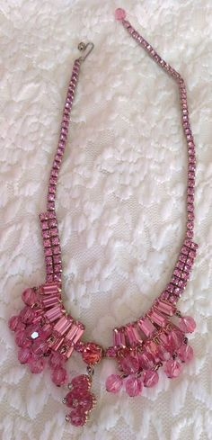 Vintage Signed Wiesner Pink & Crystal Rhinestone Necklace - SALE  | eBay
