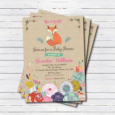 Fox baby shower invitation for girl. Burlap floral woodland fox baby girl…