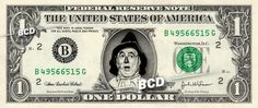 SCARECROW Wizard of Oz - Real Dollar Bill Cash Money Collectible Memorabilia Celebrity Novelty by Vincent-the-Artist, $7.77 USD