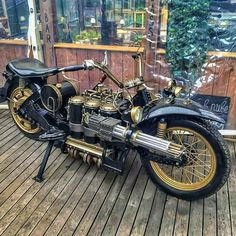 Most Wonderful Steampunk Creations - Steampunk Bike - BAM! Steampunk outfits for men Chat Steampunk, Steampunk Motorcycle, Steampunk Artwork, Steampunk Gadgets, Steampunk House, Steampunk Gears, Steampunk Clothing, Steampunk Makeup, Steampunk Outfits
