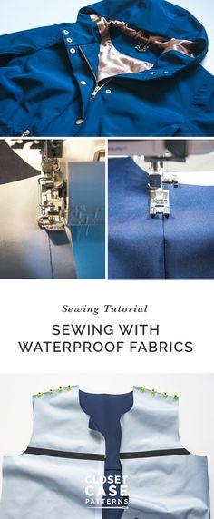 How to sew a waterproof jacket using waterproof fabric and seam sealing tape! // Sewing Tutorial // Closet Case Patterns https://closetcasepatterns.com/sewalong/sewing-a-waterproof-jacket-with-seam-tape-kelly-anorak-sewalong/
