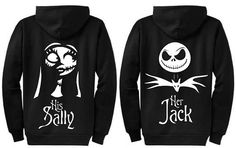 Personalized Jack and Sally Disney Couple Nightmare Before Christmas Sweatshirts - Zipper Hoodie Sweatshirts - Perfect Wedding Gift