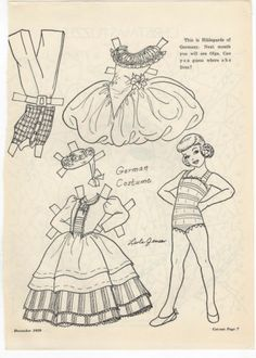 Hildegarde from Germany Paper Doll Page from Children's Friend Magazine | eBay