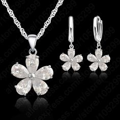 2016 Newest  Wedding Jewelry Sets Necklace Earring Jewelry Sets Cubic Zirconia CZ Jewelry Set 925 Sterling Silver Jewelry Set