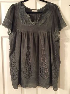 Sundance Catalog Gray  Embroidered Lace Tunic Top XL #SundanceCatalog #TunicBlouse
