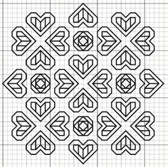 free blackwork hearts roses pattern