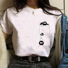 Buy New Japanese Anime Unisex T Shirt Cute Ghibli Graphic Printed Tee Causal Short Sleeve T-Shirt O-Neck Loose Tee Shirt Tops at Wish - Shopping Made Fun Anime Inspired Outfits, Anime Outfits, Grunge Outfits, Aesthetic T Shirts, Aesthetic Clothes, Custom Clothes, Diy Clothes, Cute Fashion, Fashion Outfits