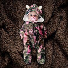 Camo Baby Fleece Jumpsuit with Ears